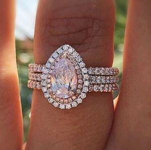 🎀Stunning Pink Sapphire Water Drop Halo Ring